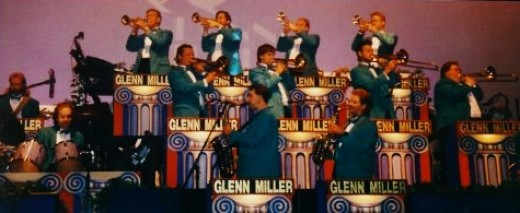 The Glenn Miller Orchestra on stage at the Blue Velvet Theatre.