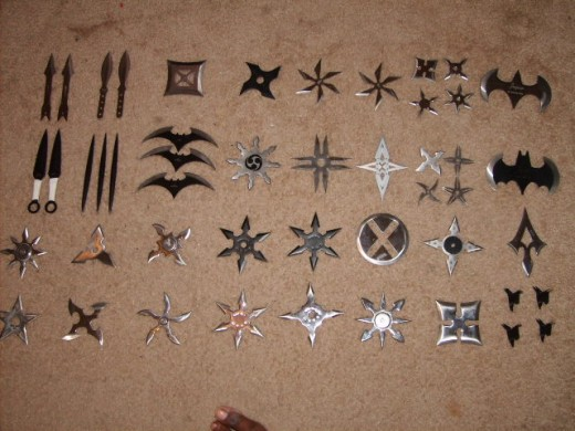 Kunai and shuriken.