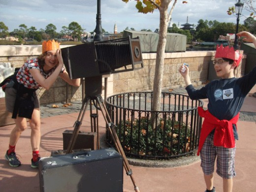 Goofing around at Epcot - Notice the New Year's Eve hats from the night before - no crowds early am Jan 1!