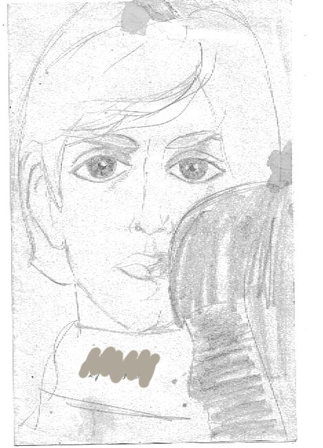 "sketch  of Paul with ""me"" in foreground circa 1964  It's been weathered, folded, erased  upon and stored badly but...still, here it is."