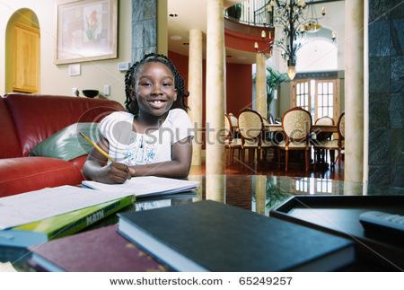 Girl doing homework ....
