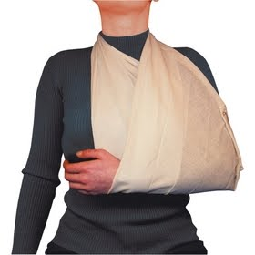 A great example of one of the many uses of a triangular bandage.
