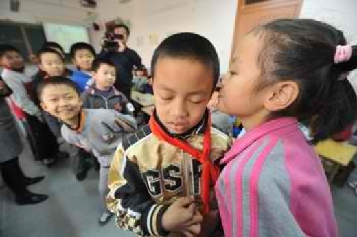 Chinese children in a sex education class