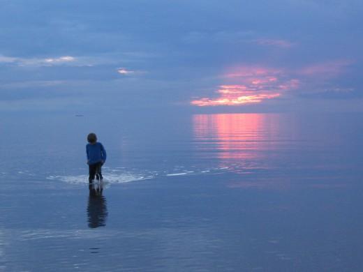 My son paddling.