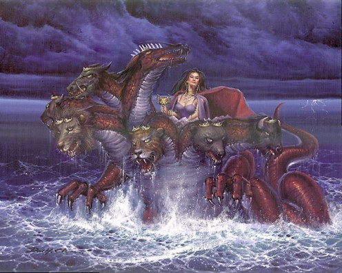 The Whore of Babylon riding the Beast.