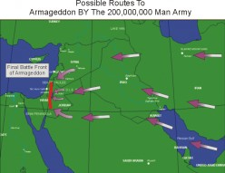 Sixth Bowl Judgment - The armies of Satan now assemble at the Battle of Armageddon site since the Euphrates River is now dried up.