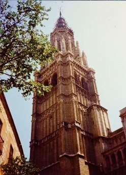 The Gothic spire of the Cathedral in Toledo