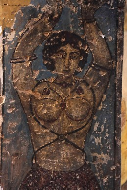 Frescoes at Qasr Amri are unusual in their depiction of human figures. This image is of a female figure, probably a dancing girl. Such revealing images of human beings as these would be strictly forbidden in later Islamic art.