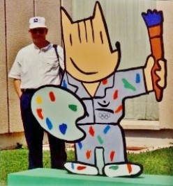CoBi was Barcelona's Olympic Mascot - Here all decked out with painterly garb in front of the Miro Foundation