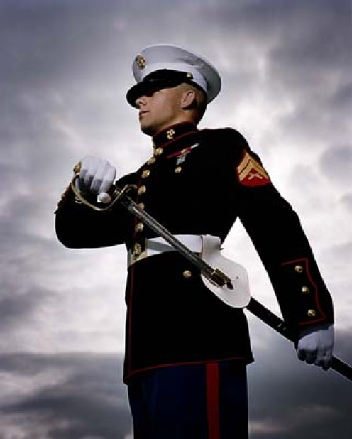 A Marine in dress uniform.