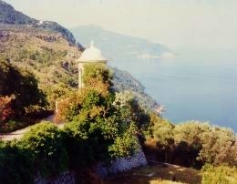 Ionic temple in back of Son Marroig with vistas of the Island and the Mediterranean forming a backdrop