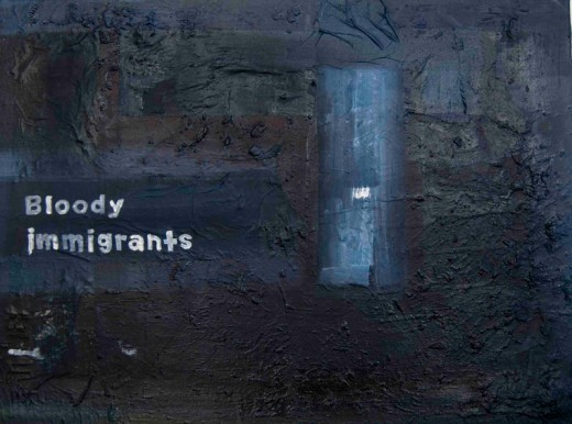 "The painting ""Bloody immigrants"" was inspired by a newspaper article in London that cited someone as having been politically incorrect and citing foreigners as bloody immigrants. Victor Mavedzenge (artist) responded by painting this abstract work."