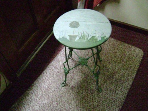 Painted scene on old piano stool