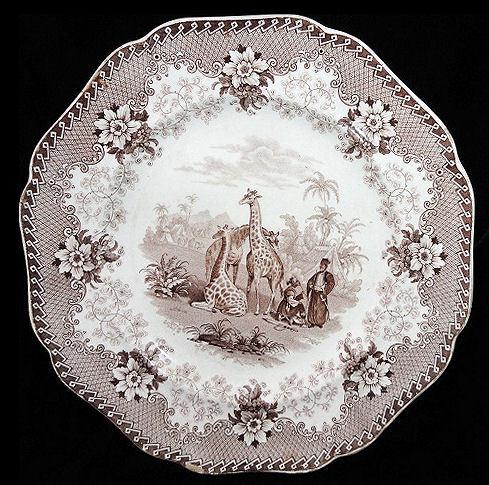 Rare Brown Transfer Printed Plate ~ Ridgway GIRAFFE c1836