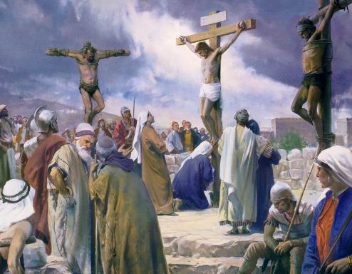Jesus crucified at Calvary.