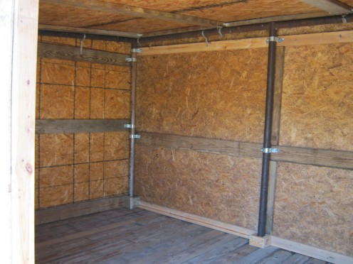 Inside shed.