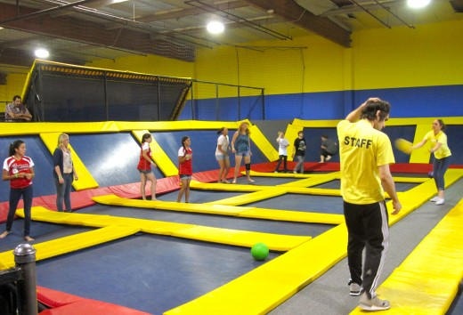The Dodgeball Court at Sky High in Orange County, CA.