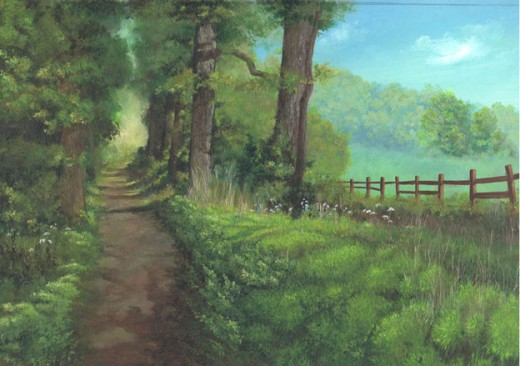 Summer path acrylic painting on watercolour board
