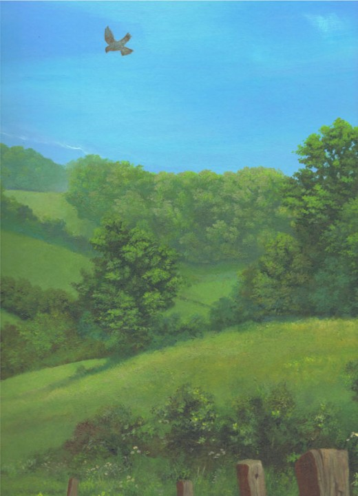 Summer fields acrylic painting on watercolour board