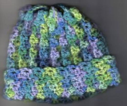 Stretchy crocheted hat