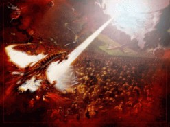 The Battle of Armageddon.  Jesus and Satan meet face to face with their armies.