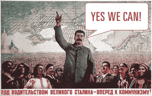 "Joseph Stalin builds a cult of personality. Below it reads-""Under the guidance of the Great Stalin, we go forward to communism!"""