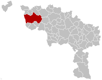 Map location of Tournai, Hainaut, Belgium