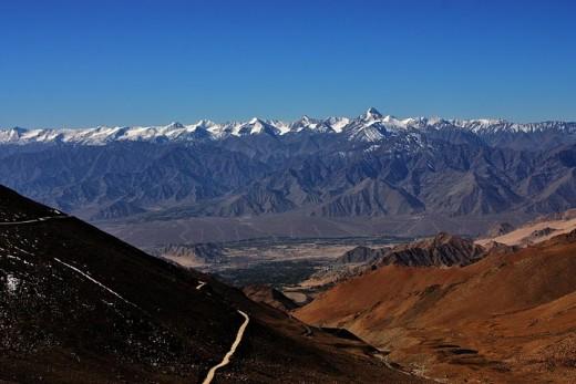 A beautiful via of Leh from Khardung La Pass