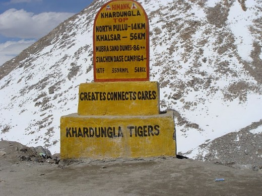 Siachen Base Camp is 164 kilometers from this point- Himank Khardungla Top - Nubra Valley Sand Dunes - 86 km. North Pullu 14 km and Khalsar 56 km