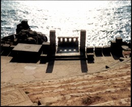 Minack stage at sunset.