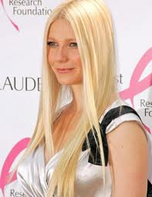 Gwyneth uses flat irons to get her straight locks
