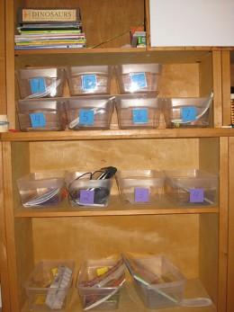 Workboxes on a shelf