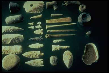 This is a sample of stone age tools used for jobs such as hunting, butchering, skinning, chopping and many other uses..