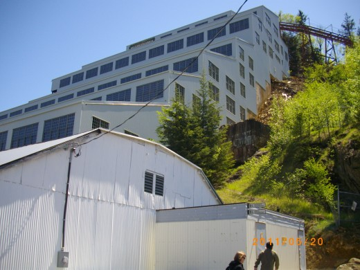 This is the exterior of the massive processing building at Britannia Mines. The noisy din inside the building when in operation around the clock every day of the year exceeded that of a military jet runway.