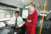 Have bus fare ready before the bus arrives