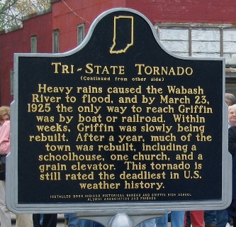 Marker commemorating the victims of the 1925 Tri-State Tornado
