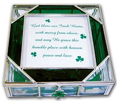 Irish Stained Glass Keepsake Box with Shamrock Charm