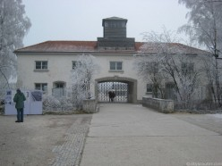 The entrance to Dachau concentration camp.