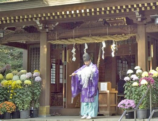 Kannushi - Shinto priest in ceremonial dress kariginu.