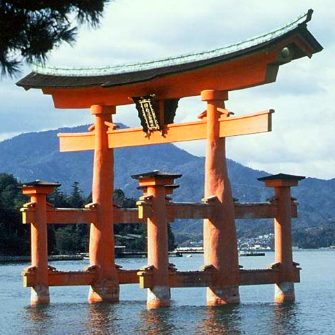 Tori in Miyajima - characteristic shape of the gate, leading to tempels and Shinto holy places (in the Shinto birds are considered messengers of the gods).