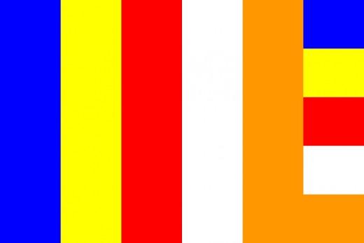 Flag symbolizing Buddhism.