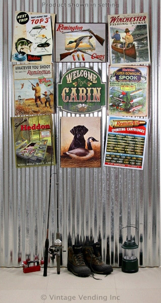 Decorating a Hunting Lodge with Tin Signs