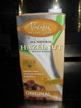 Packaged hazelnut milk