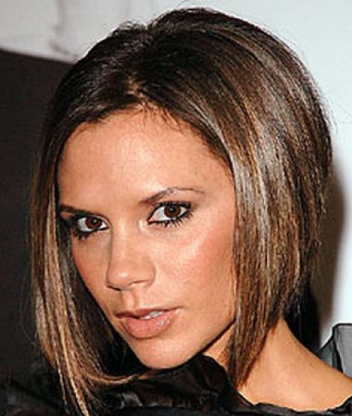 Victoria Beckham in a longer, darker bob