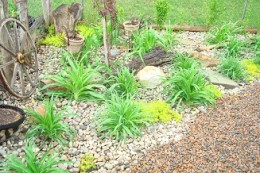The corner was filled with day lilies during the transformation. This photo was taken in early spring.