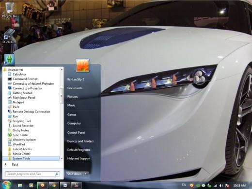start menu -- system tools under accessories