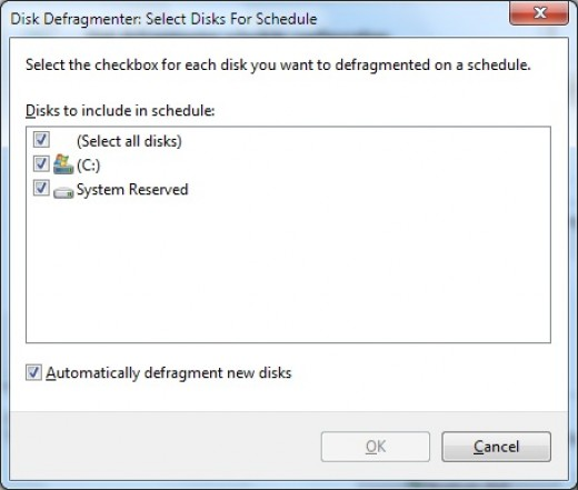 selecting disk to defragment