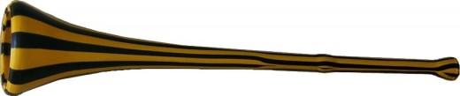 A black and yellow striped vuvuzela