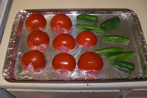 This is how the tomatoes, jalapeno and serrano peppers looked prior to oven roasting.  Simple is best in this recipe in my opinion.