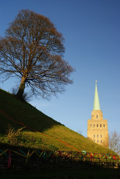 Castle Mound, Oxford and the spire of Nuffield College